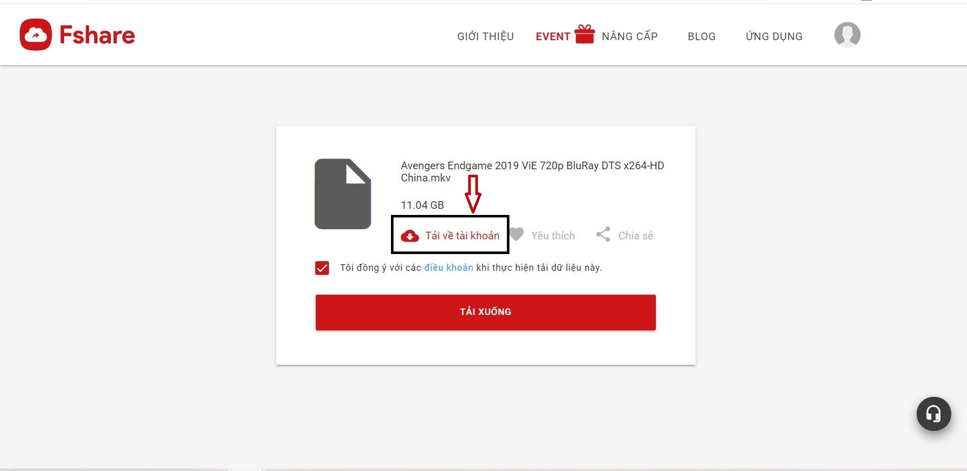 Cho phép tải file trực tiếp vào tài khoản
